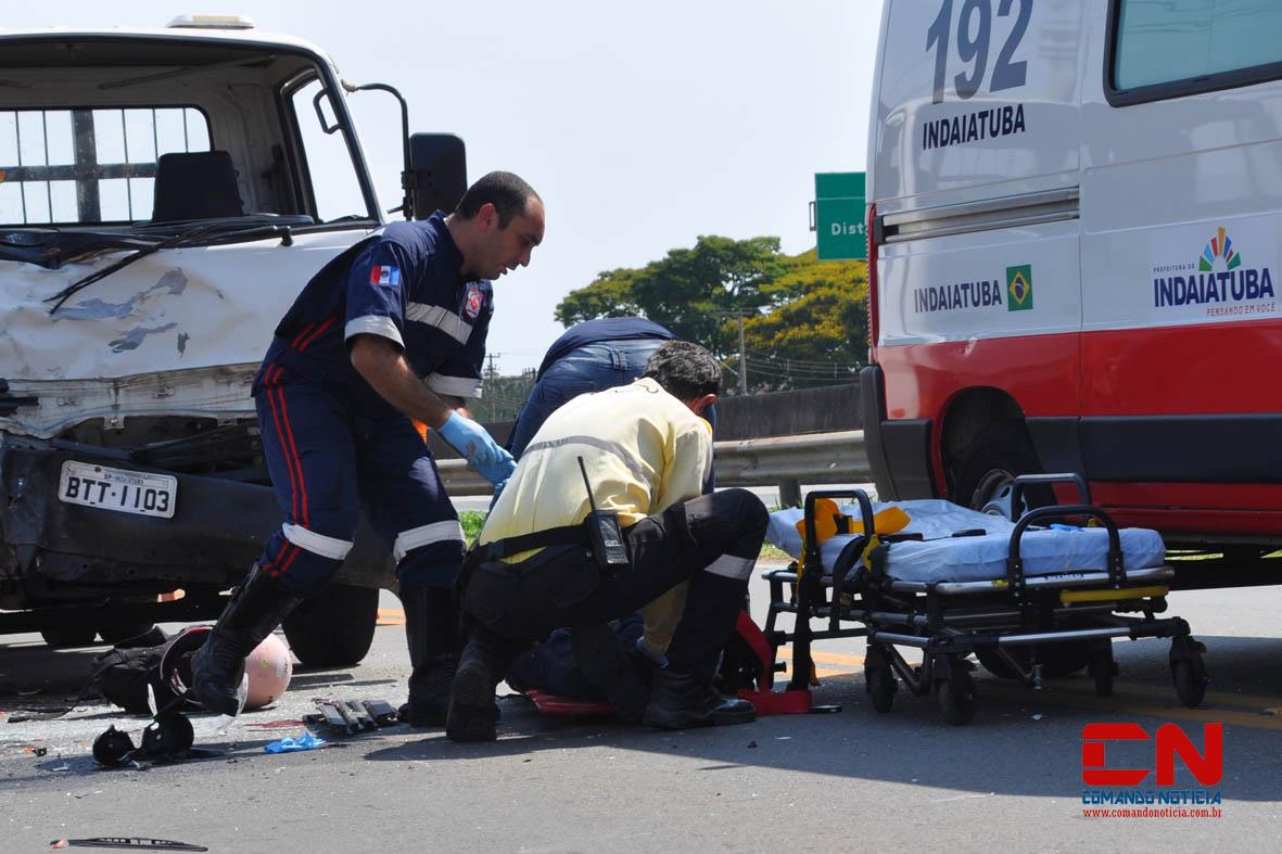 acidente moto caminhão sp-7510